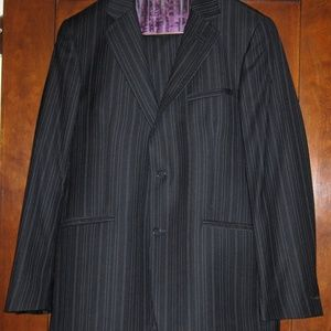TED BAKER Navy Pinstripe Suit 100% Wool 42R/36x32